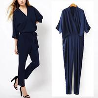 2014 New Summer Women's Fashion V Neck Kimono Bat Sleeve Casual Elastic Waist Long Pants Slim Rompers Jumpsuit Bodysuit Overall