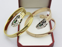 Hot new Titanium Mosaic gold snake bracelets, titanium steel color spring gold-plated bracelets & bangles birthday gift