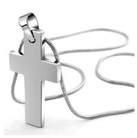 Mens Chain Necklace Cross Tungsten Pendant Custom Made Jewelry