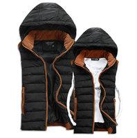 2014 Autumn winter men's vest lover casual hooded men waistcoat vest 4 colors S-3XL