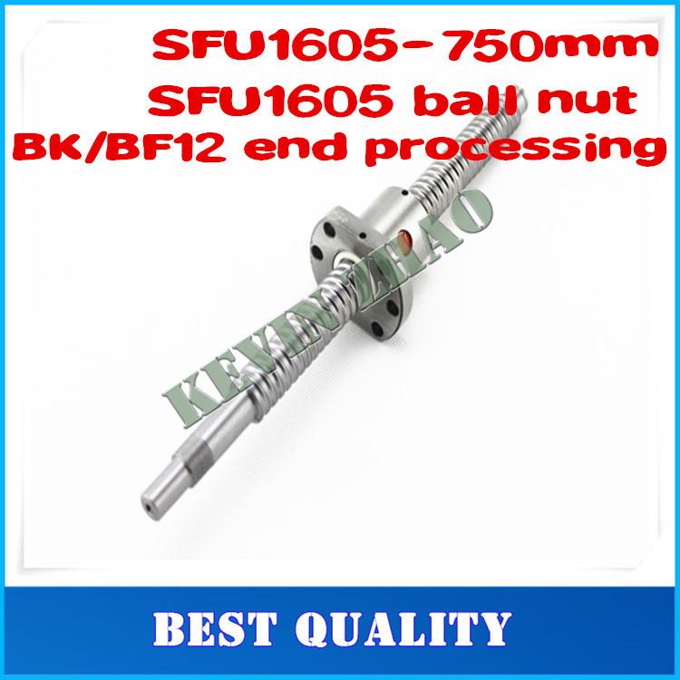 Шарико-винтовая пара Mux BallScrew 1605 l = 750 SFU1605 Ballnut CNC 2 25mm ballscrew sfu2505 l 1000mm single ballnut bk20 bf20 bearing supports nut bracket for diy cnc router