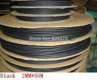 wholesale and retail! 2MM Heat shrinkable tube black  heat shrink tubing Insulation casing 50m Free shipping