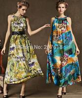 Summer Dress 2014 New Women Satin Ruffled Beach Party Dresses Plus Size Long Evening Dress Gowns With Belt