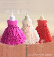 2014 New Baby Girls Prom Dress Bow Children Flower Evening Party Gown Princess dresses vestidos de fiesta 90-130cm