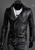 Faux Leather Jacket men Cothing New 2014 Montage Patchwork Zipper Pockets PU Leather Jacket Fashion Autumn Winter Leather Coat