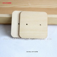 (60pcs/lot) Natural Wooden Earring Tags Jewelry Label Cards Display Jewelry Holder Blank Square Shape-CT1147B