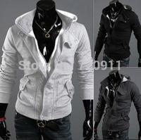 Free shipping napping Youth spring autumn clothing fashion fleece Men cardigan Zippered Hoodie korean leisure sports coat 944