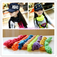 Children baby Scarves girl boys Solid Crinkle Long Scarf Wraps Shawl Stole Soft Candy Color