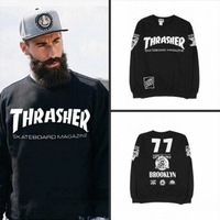 European Men Black HipHop Hoodies Harajuku Sport Male THRASHER Sweatshirts Designer Fashion Jacket Clothes