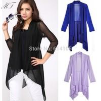 Plus Size Women Clothing Autumn 2014 New Arrival Jacket Fashion Brand Chiffon Long Cardigans