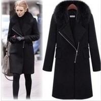 2014 new winter fashion super temperament medium-long fur collar jacket coat zipper wool blends female sy024