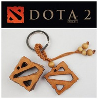 Defense of the Ancients DOTA2 Keychain Dota 2 logo keychains wooden pendants world of Warcraft 3 free shipping