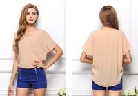 2014 women's chiffon shirt female fashion short-sleeve fashion candy color batwing shirt female t-shirt