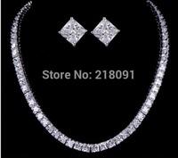 Star favorite bridal bridesmaid square 0.75carat diamondnecklaces&stud  earrings Jewellery suit