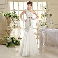 2014 New 100% Actual Images Floor-Length Vintage Slim Bandage One Shoulder Backless Lace Flower Mermaid Wedding Dress WD037