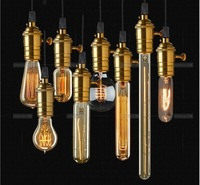 Whole set of lamp with 8 single-head brass E27 incandescent bulbs vintage edison pendant light lamp for home lighting lamp