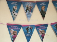 Wedding Invitations 2014 Limited Sale Party Decorations 1.1-1.3m Frozen Themed Banners Triangle Decoration Elsa & Anna Princess