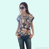 New 2014 Print Tiger O-Neck Casual Women Summer T-Shirt Free Shipping M L XL XXL XXXL