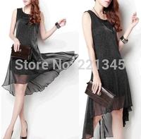 Korean version of the irregular round neck sleeveless black chiffon dress was thin dress