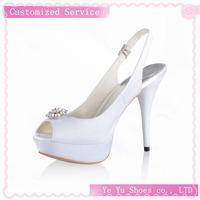 Free Shipping!Satin Peep Toe Wedding Shoes With Rhinestone Stiletto Heel CY0147