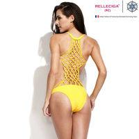 RELLECIGA 2014 Marianne Collection-Latest Fashion Swimwear Ginger Yellow One-piece Swimwear with Totally Handmade Lattice Back