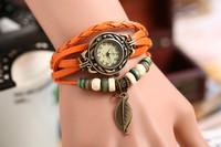 2014 Fashion New 7Colors Original High Quality Women Genuine Leather Vintage Watch punk  Antique Bracelet Wrist watches Leaf