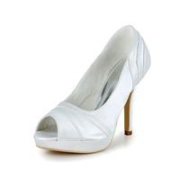 Satin Womens Peep Toe Wedding Stiletto Heel Pumps/heels With Rhinestone Shoes (more Colors) Cy0299