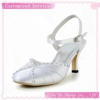 Free Shipping!pretty Satin Womens Upper Mid Heel Sandals With Rhinestone Wedding Shoes Cy0158