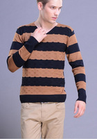 New Fall 2014 Men's Sweater Fashion leisure Wild long-Sleeved V-neck Sweater Stripes Sweater Free Shipping Promotion