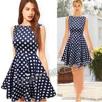 2014 Casual Elegant Dresses Women Sleeveless Party Vintage Prom Polka Dot Printed Dresses Dark Blue Plus Size S/M/L/XL 851551