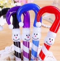 Nice 24pcs/lot Blue Refill Umbrella Ballpoint Pen Christmas Snowman Stationery Office/School Supplies #BP042