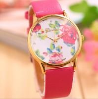 2014 Hot Sale New Fashion Leather GENEVA Rose Flower Watch Women Dress Watch stylish Rhinestone Quartz Watches orologio da polso