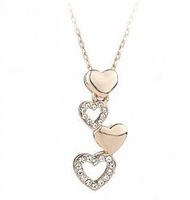 wholesale 18K white gold plated crystal fashion heart pendant necklace wedding jewelry for women 761A2
