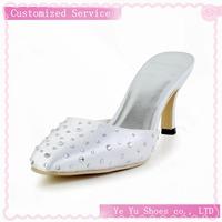 Pretty Satin Womens Stiletto Heel Pumps with Rhinestone Wedding Shoes CY0121