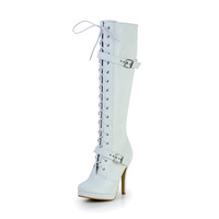 Leatherette Upper Stiletto Heel Knee High Boots With Cross-Strap Party/ Evening Shoes CY0240