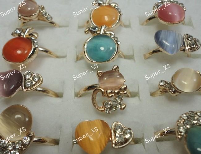 Free shipping 25pcs Natural Cat eye stone Rhinestones Women Girls Gold Rings Wholesale Jewelry LS358(China (Mainland))
