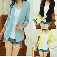 Fashion Slim Blazer Women Candy Colored  Blazer Jacket None Button Lapel Long Sleeve Suit Blazer Woman  Free shipping