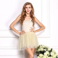 Plus Size Cuty One-piece women summer dress gauze sweet chiffon dress all-match spaghetti strap short dress