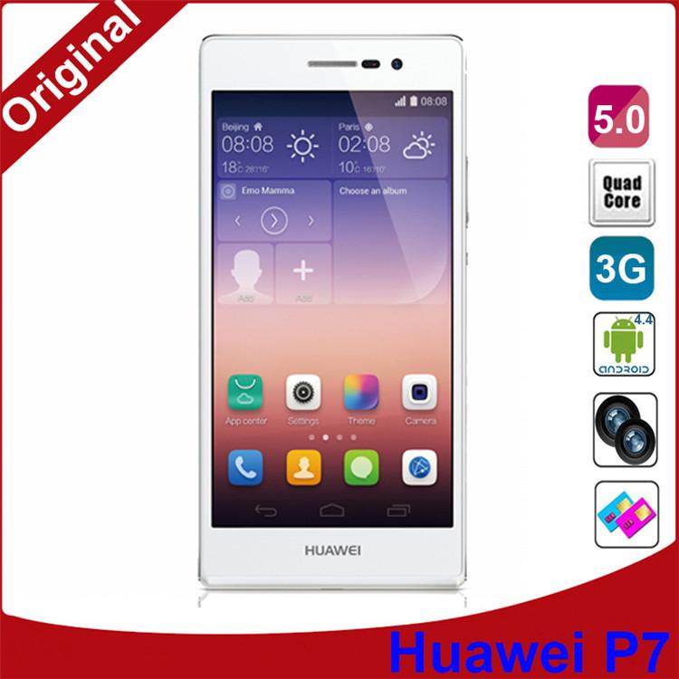 DHL Free Huawei Ascend P7 Quad Core Original Phones 1.8GHz 5.0 Inch 1920x1080 2GB RAM 16GB Android 4.4 GPS WCDMA Dual SIM 13MP(China (Mainland))