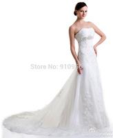 FairOnly 2014 New Fashion Custom Elegant Embroidery Crystal Train Wedding Dress Bridal Gown