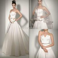 Wholesale - New Arrival Simple Custom Made V Neck Sash A Line Floor Length Satin Wedding Dresses Bridal Gowns White Ivory Hot Sa