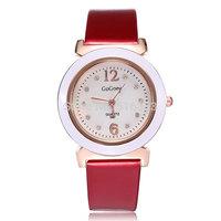 Hot Sell Women Casual Wrist Watch Dress Watch Analog Quartz w/ Rhinestone Dial High Quality PU Band