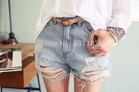 2014 Women Shorts Femininos Vintage Mid Waist Short Ripped Hole punk Rock Short jeans Distress Cutoffs Ladies denim Pants