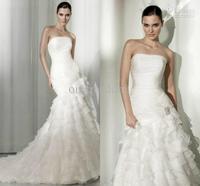 Wholesale - New Elegant Strapless Ruffles Mermaid Falbala Court Train Organza Wedding Dresses Bridal Gowns White Ivory Hot Cheap