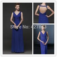 Elegant Chiffon V-neck Royal Blue Evening Dress Wedding Party Formal Evening Dress Floor Length Long Backless Party Dress