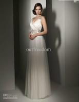 Wholesale - New Arrival Dramatic Spaghetti Appliques Sash A Line Floor Length Tulle Wedding Dresses Bridal Gowns Hot Sale Custom