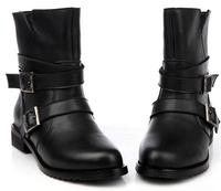 2014 hot sale black pu Women shoes Ankle Boots short martin botts motorcycle boots  Low Heel Combat Gothic Punk belt buckle 7A42