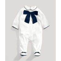 Momo - Wholesale 2014 Autumn cotton long-sleeved Baby Bag gentleman footies, Kid boy gentleman Rompers, 4pcs/lot