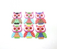 Free shipping -50PCs Random Mixed Lovely Owl Animals 2 Holes  Wood Painting Sewing Buttons Scrapbooking 35mmx28mm D2225