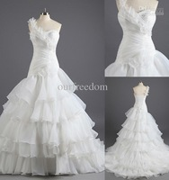 Wholesale - New Real Image White One Shoulder Ruffles Mermaid Court Train Handmade Flowers Organza Elegant Wedding Dresses Brida
